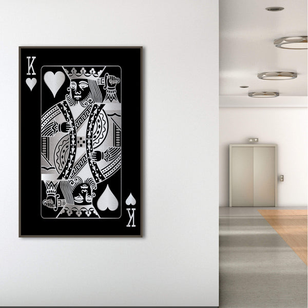 King of Hearts - Silver Clock Canvas
