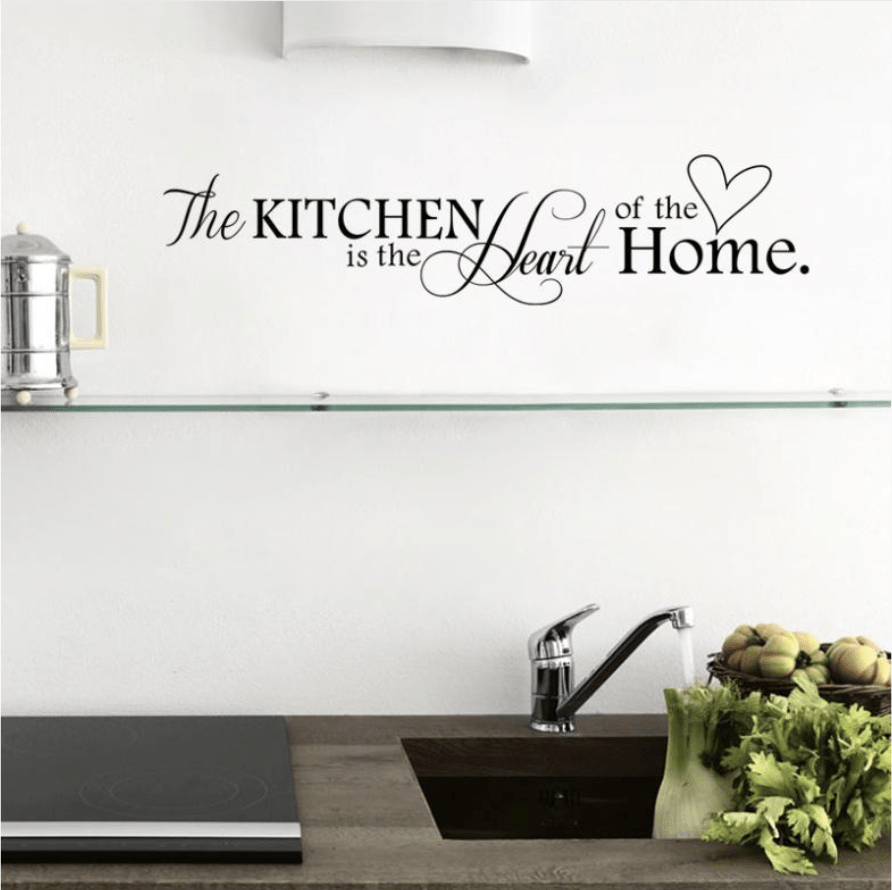 Kitchen Heart of Home Wall Sticker Clock Canvas