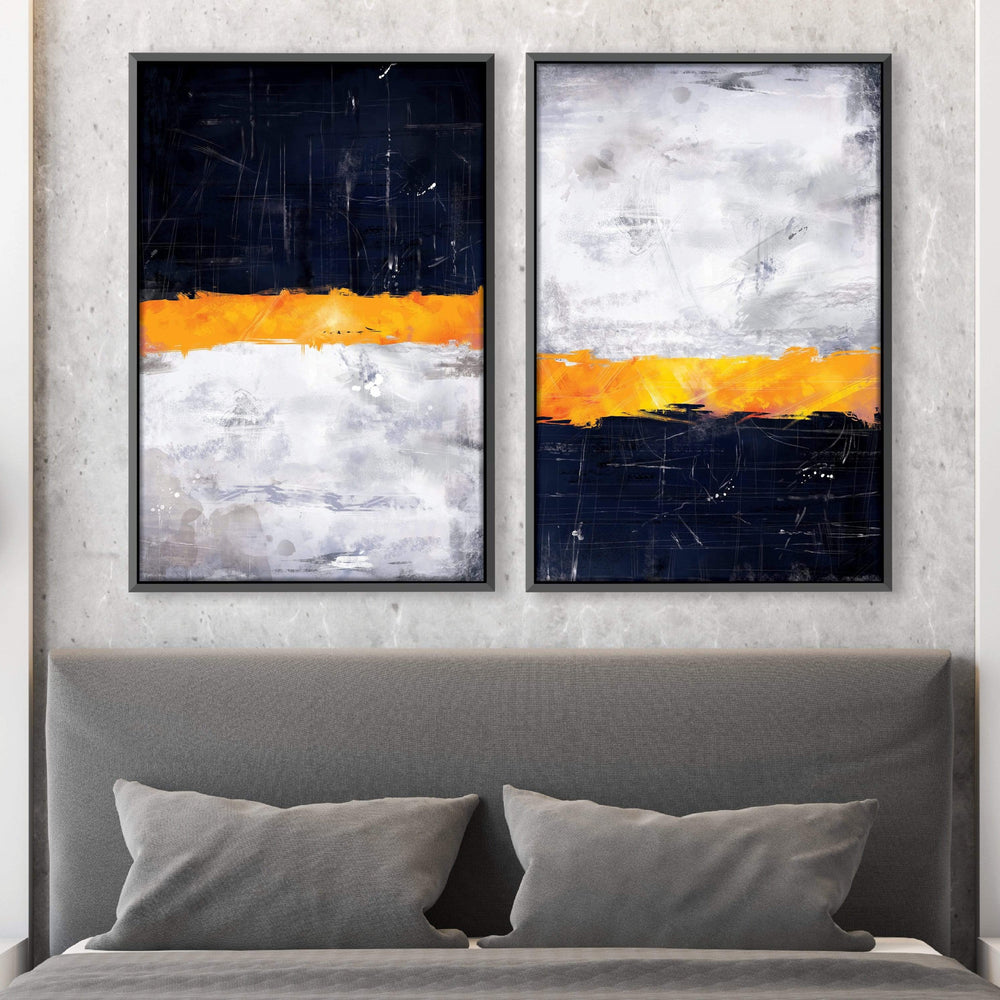 Layered Navy Canvas Art Clock Canvas