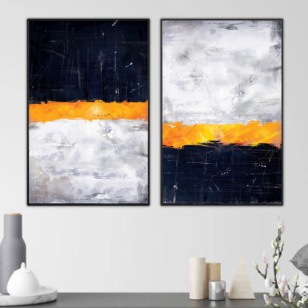 Layered Navy Canvas Art Set of 2 / 40 x 50cm / No Board - Canvas Print Only Clock Canvas