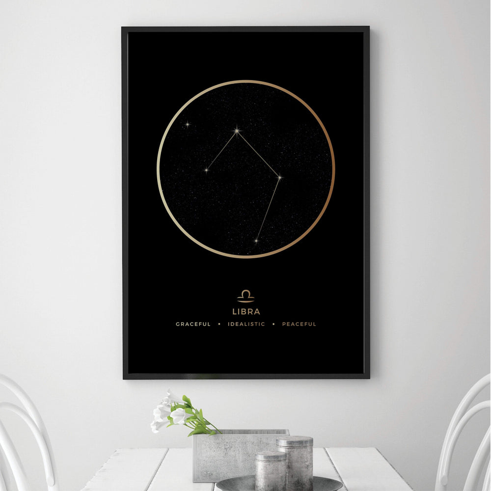 Libra Traits Gold Canvas Art Clock Canvas
