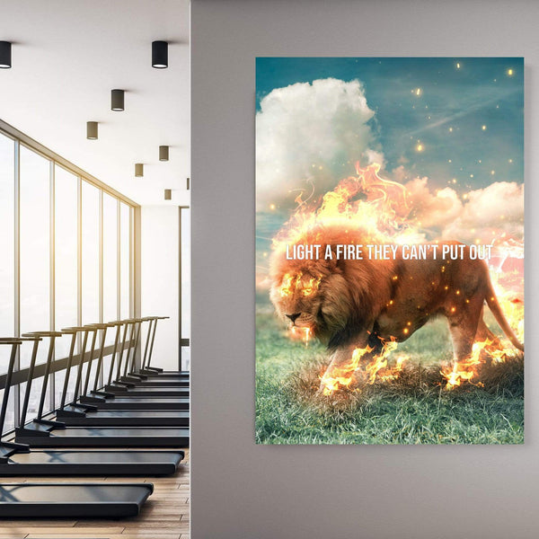 Lion Fire Clock Canvas