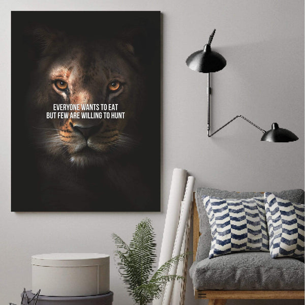 Lioness Hunt Clock Canvas