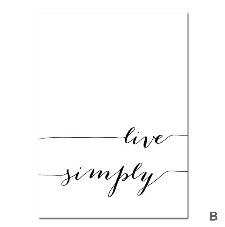Live Simply Canvas Art B / 40 x 50cm / No Board - Canvas Print Only Clock Canvas