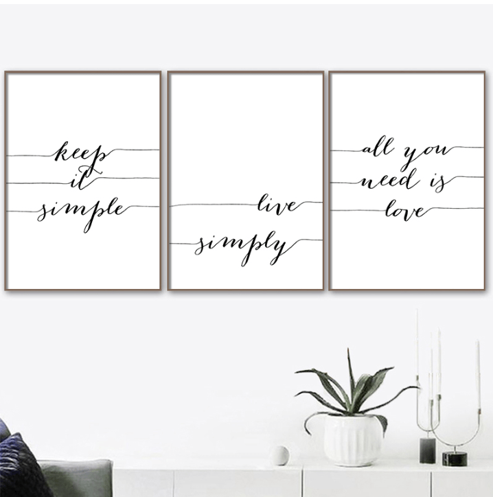 Live Simply Canvas Art Set of 3 / 40 x 50cm / No Board - Canvas Print Only Clock Canvas