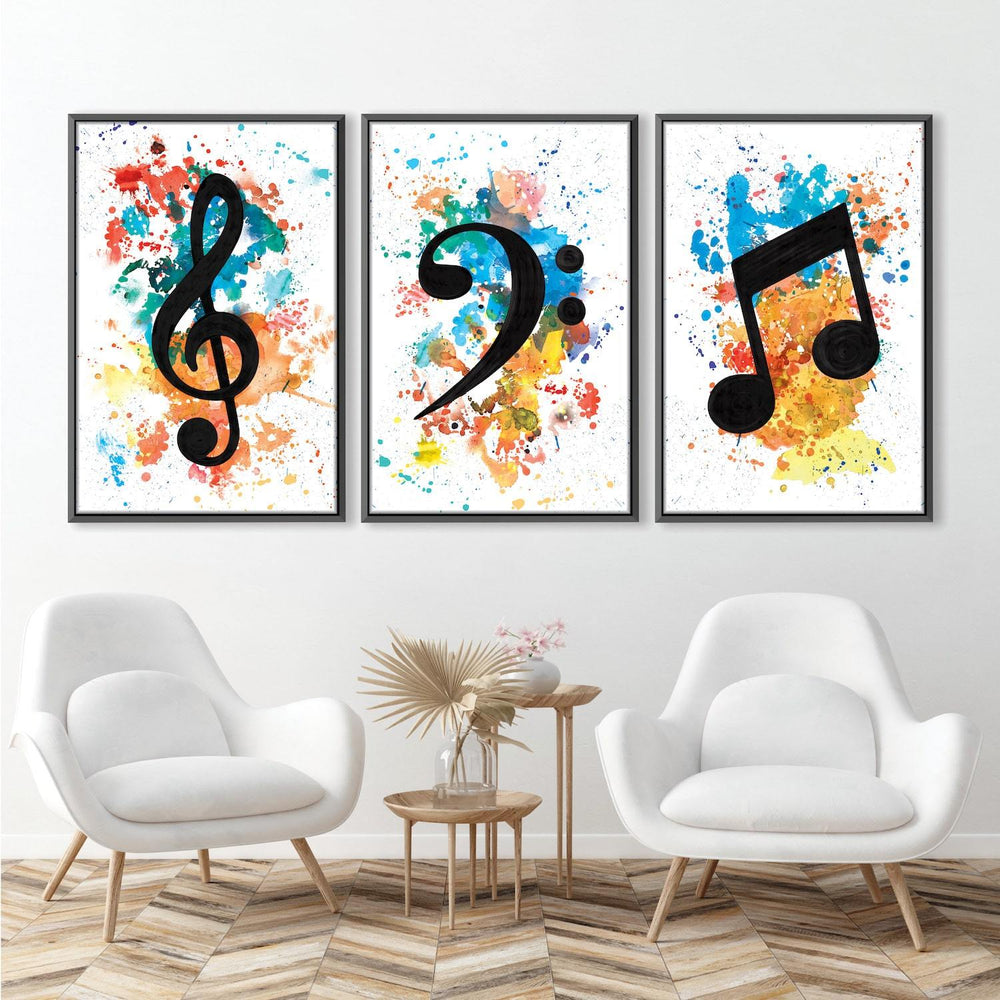 Lively Notes Canvas Art Set of 3 / 40 x 50cm / Unframed Canvas Print Clock Canvas