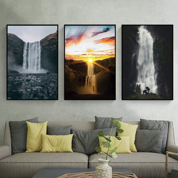 Magnificent Waterfalls Canvas Art Clock Canvas