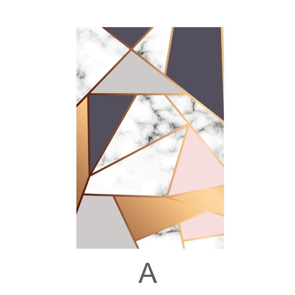 Marble Geometric Canvas Art A / 40 x 50cm / No Board - Canvas Print Only Clock Canvas