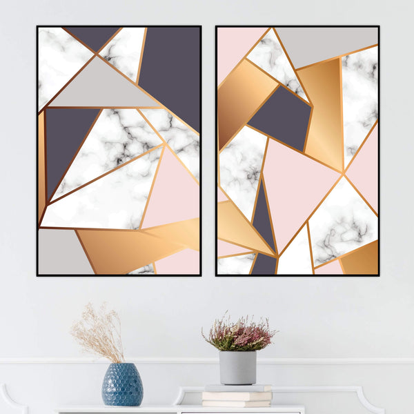 Marble Geometric Canvas Art Set of 2 / 40 x 50cm / No Board - Canvas Print Only Clock Canvas