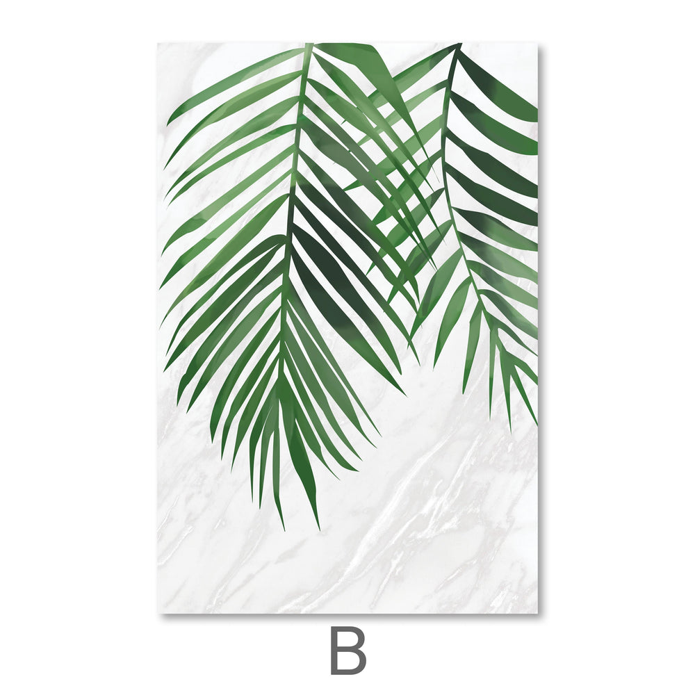 Marble Tropical Leaf Canvas Art B / 40 x 50cm / No Board - Canvas Print Only Clock Canvas