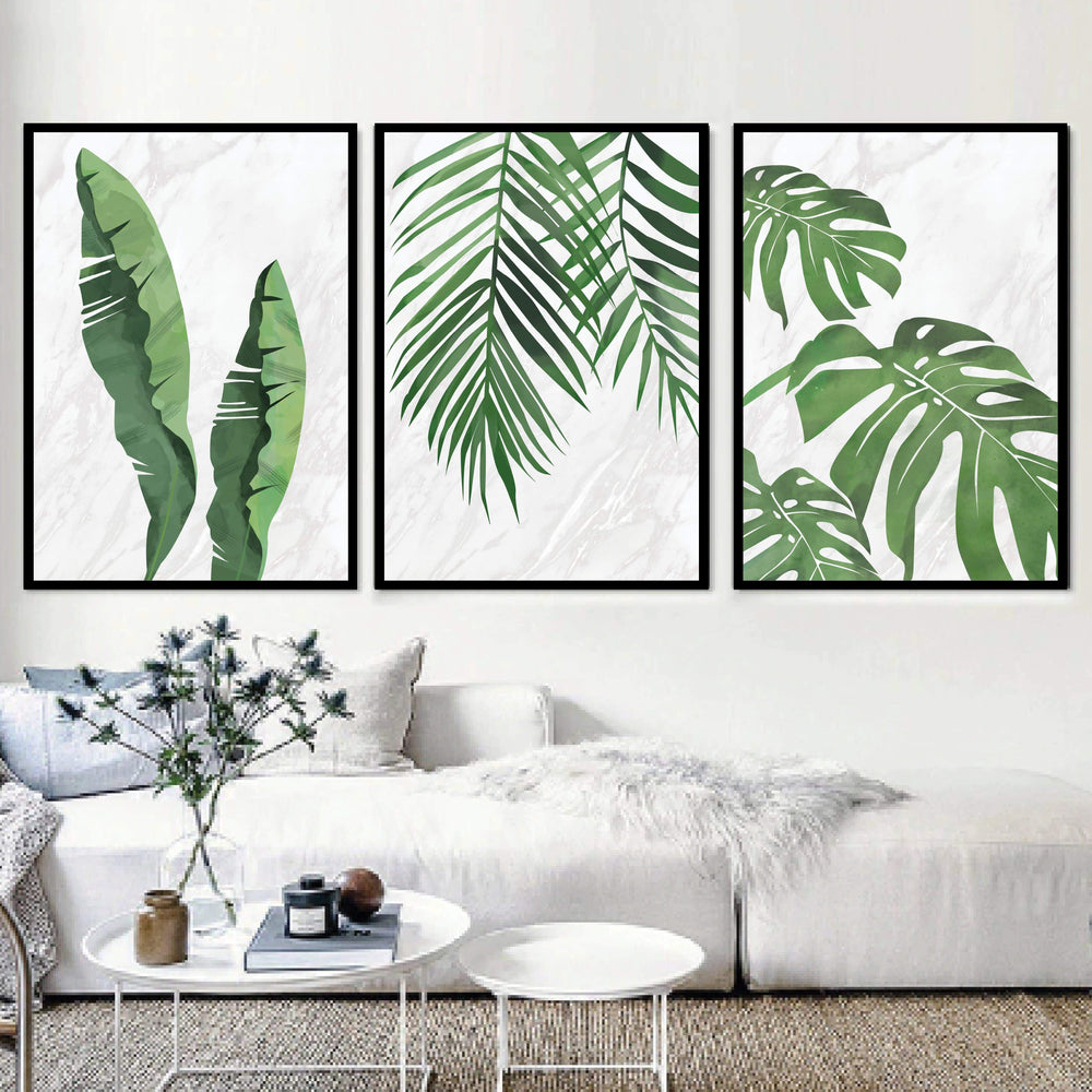 Marble Tropical Leaf Canvas Art Set of 3 / 40 x 50cm / No Board - Canvas Print Only Clock Canvas