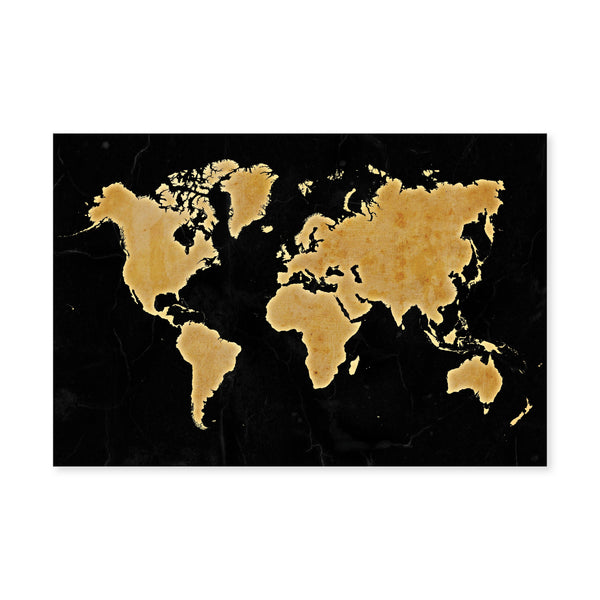 Marble World Map Canvas Art Clock Canvas