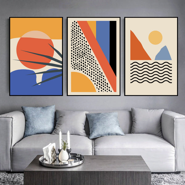 Minimal Paradise Canvas Art Set of 3 / 40 x 50cm / No Board - Canvas Print Only Clock Canvas