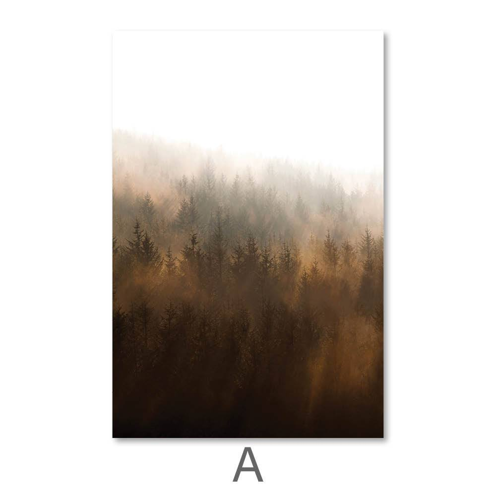 Misty Autumn Canvas Art A / 40 x 50cm / No Board - Canvas Print Only Clock Canvas
