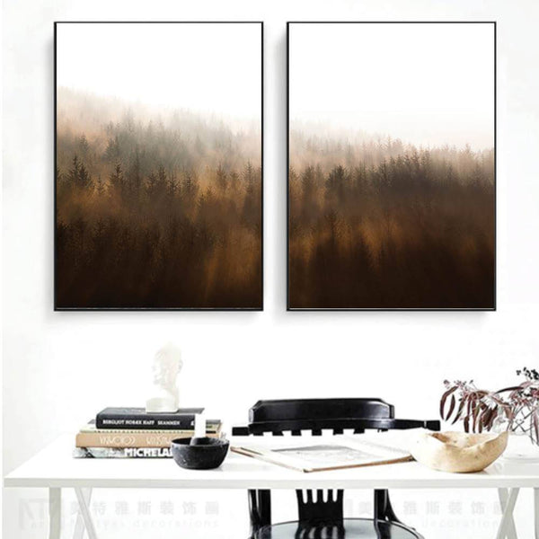 Misty Autumn Canvas Art Set of 2 / 40 x 50cm / No Board - Canvas Print Only Clock Canvas