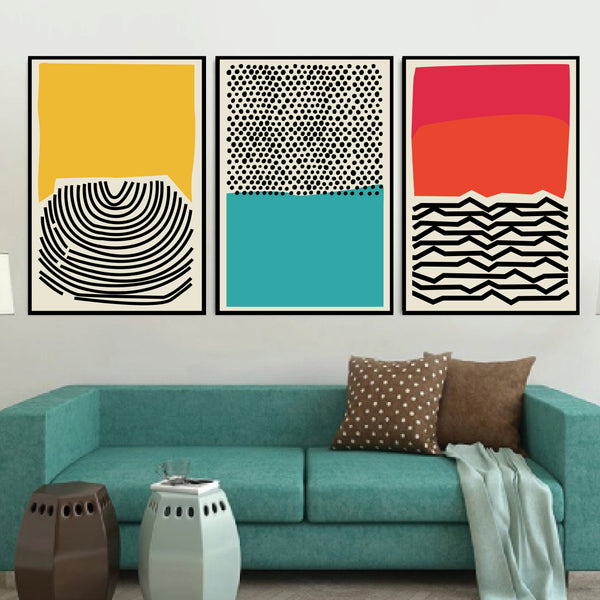 Modern Ocean Canvas Art Set of 3 / 40 x 50cm / No Board - Canvas Print Only Clock Canvas