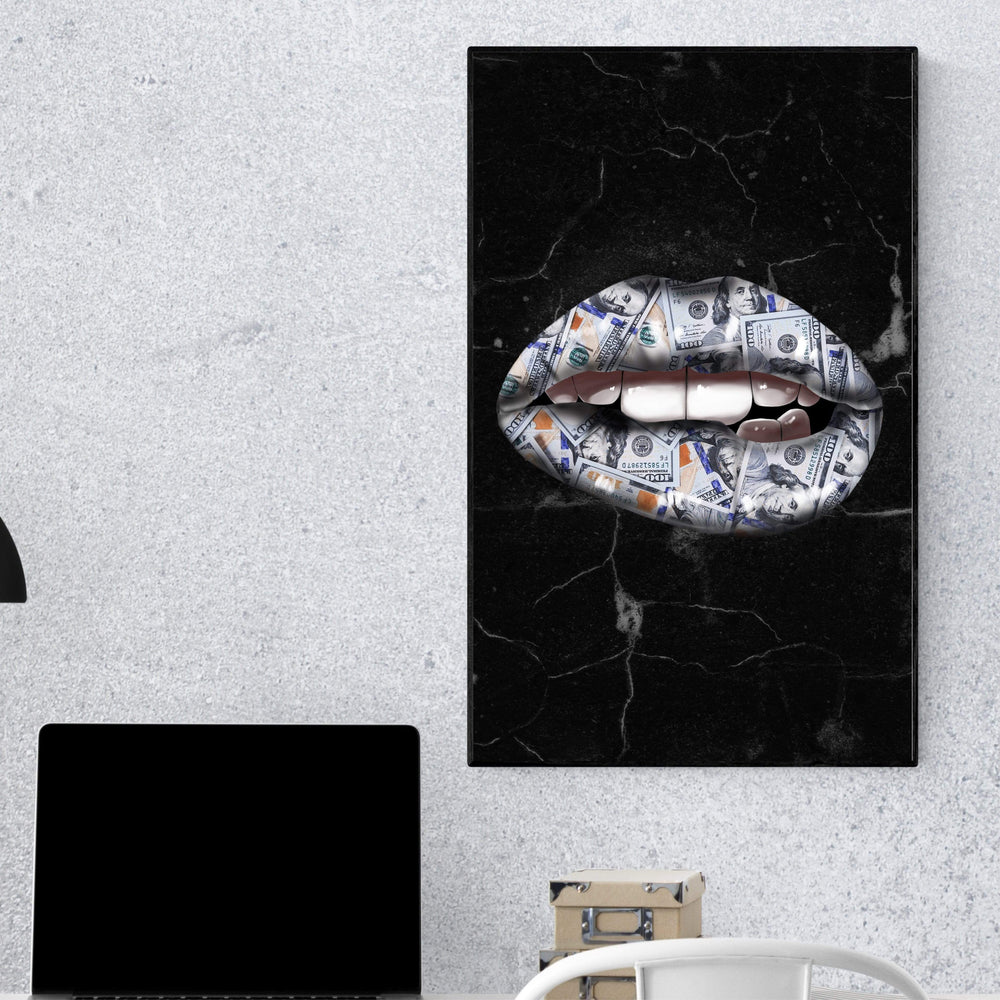 Money Lips Clock Canvas