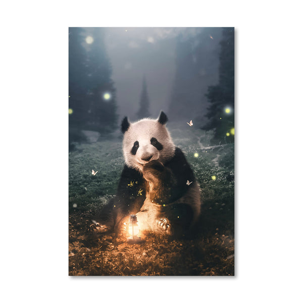 Moonlight Panda Canvas Art Clock Canvas