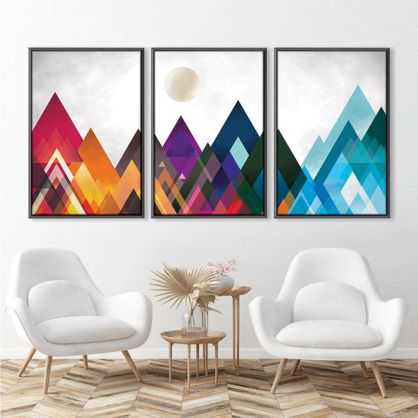 Mountain Spectrum Canvas Art Set of 3 / 30 x 45cm / Unframed Canvas Print Clock Canvas