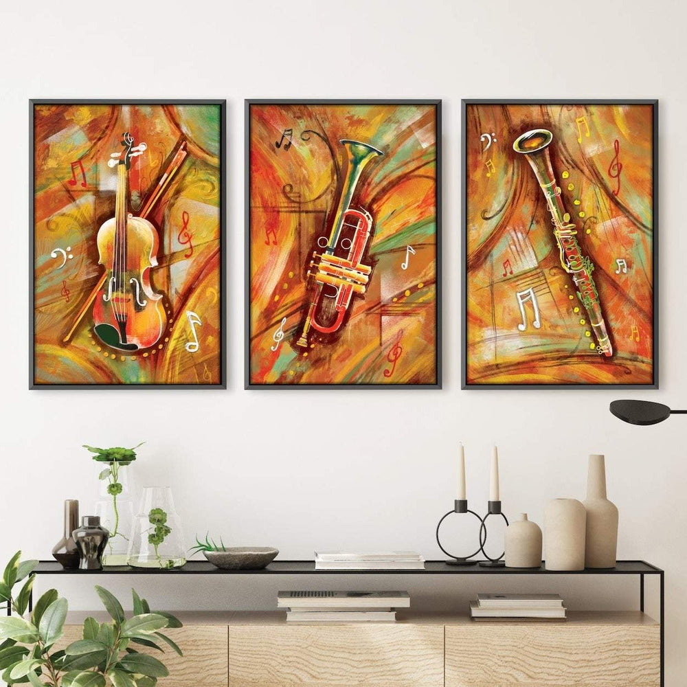 Musical Waves Canvas Art Set of 3 / 40 x 50cm / Unframed Canvas Print Clock Canvas