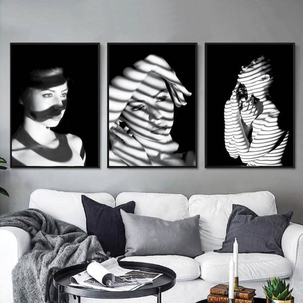Mystery Woman Canvas Art Set of 3 / 40 x 50cm / No Board - Canvas Print Only Clock Canvas