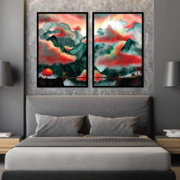 Mystic Temple Canvas Art Set of 2 / 40 x 50cm / No Board - Canvas Print Only Clock Canvas