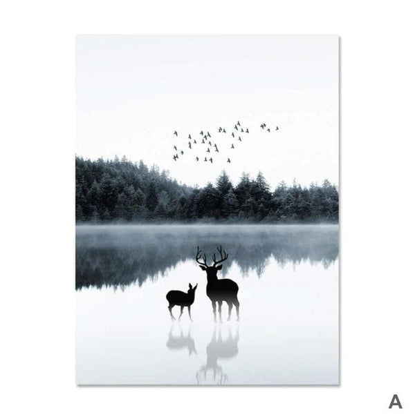 Mystical Lake Canvas Art A / 40 x 50cm / No Board - Canvas Print Only Clock Canvas