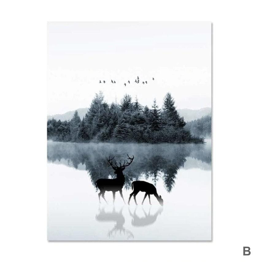 Mystical Lake Canvas Art B / 40 x 50cm / No Board - Canvas Print Only Clock Canvas