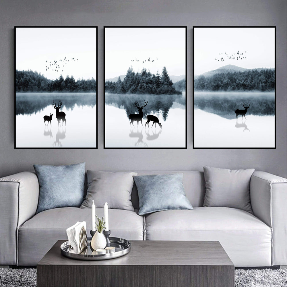 Mystical Lake Canvas Art Set of 3 / 40 x 50cm / No Board - Canvas Print Only Clock Canvas