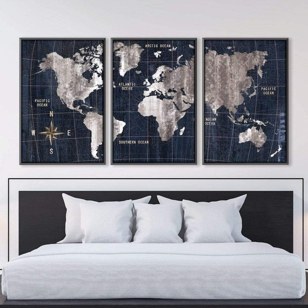 Noir Map Canvas Art Clock Canvas