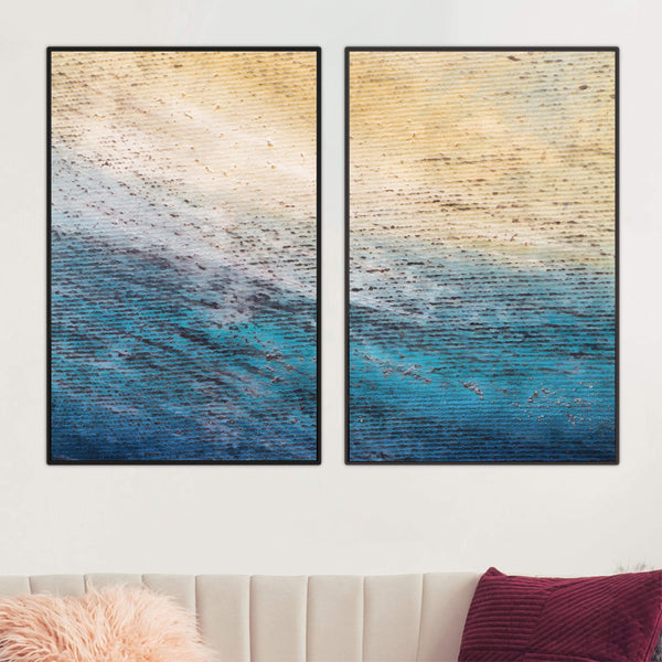 Ocean Shore Canvas Art Set of 2 / 40 x 50cm / No Board - Canvas Print Only Clock Canvas