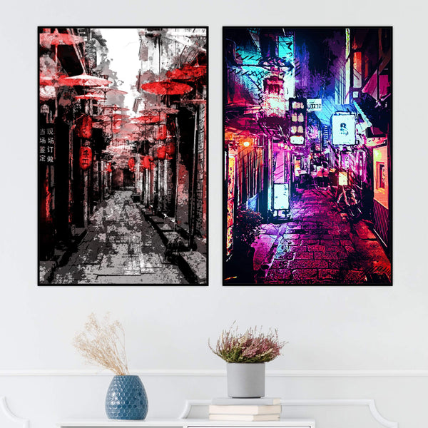 Osaka Streets Canvas Art Set of 2 / 40 x 50cm / No Board - Canvas Print Only Clock Canvas