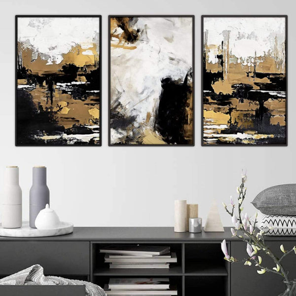 Painted Bronze Canvas Art Set of 3 / 40 x 50cm / Standard Gallery Wrap Clock Canvas