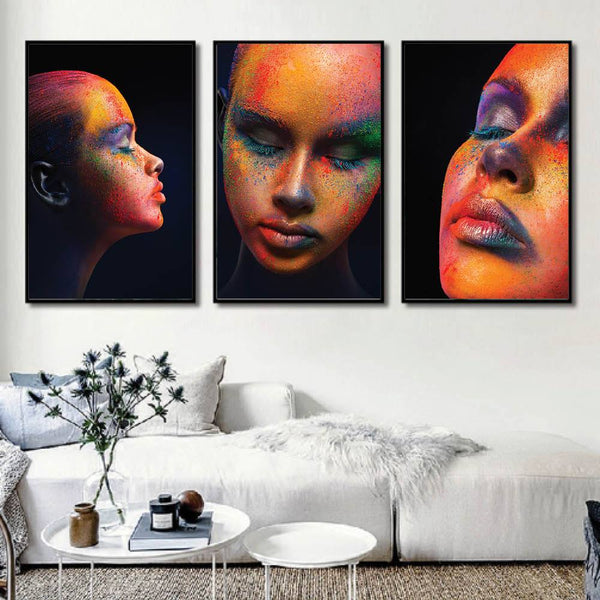 Painted Woman Canvas Art Set of 3 / 40 x 50cm / No Board - Canvas Print Only Clock Canvas