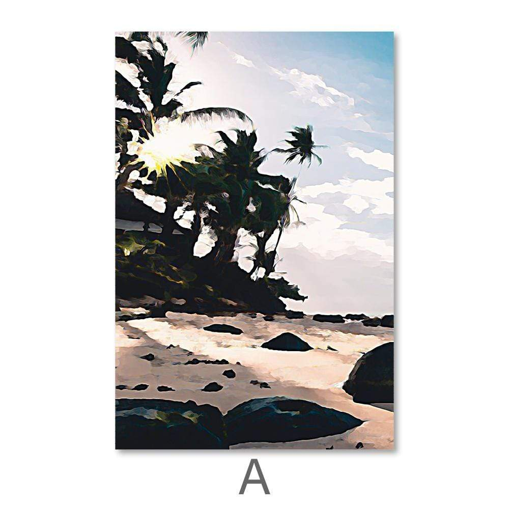Paradise Beach Canvas Art A / 40 x 50cm / No Board - Canvas Print Only Clock Canvas