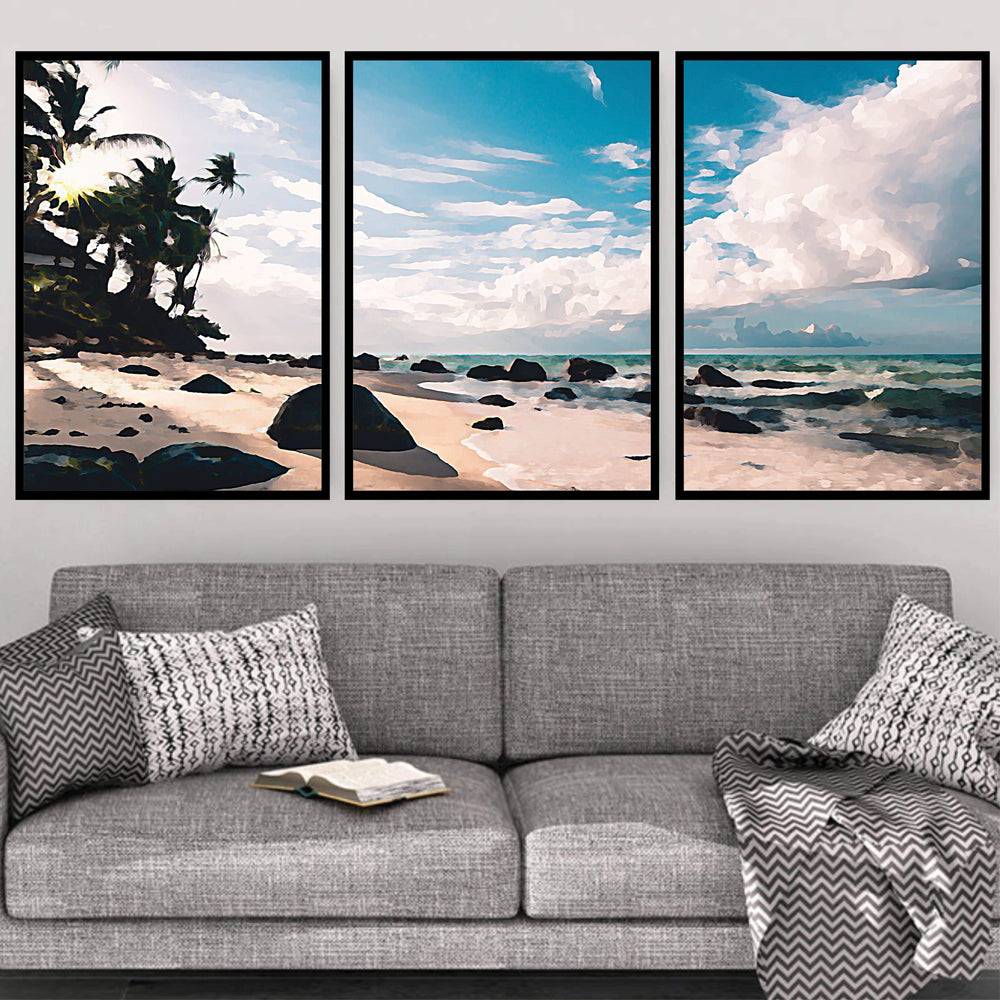 Paradise Beach Canvas Art Set of 3 / 40 x 50cm / No Board - Canvas Print Only Clock Canvas