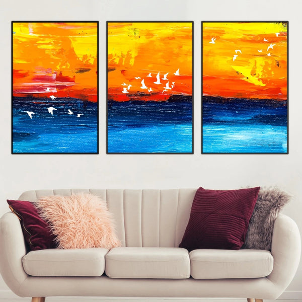 Paradise Sunrise Canvas Art Set of 3 / 40 x 50cm / No Board - Canvas Print Only Clock Canvas