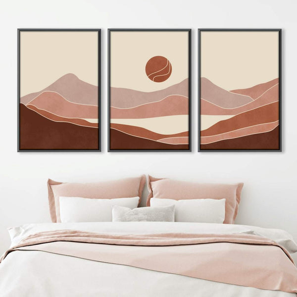 Pastel Horizon Canvas Art Set of 3 / 40 x 50cm / Unframed Canvas Print Clock Canvas