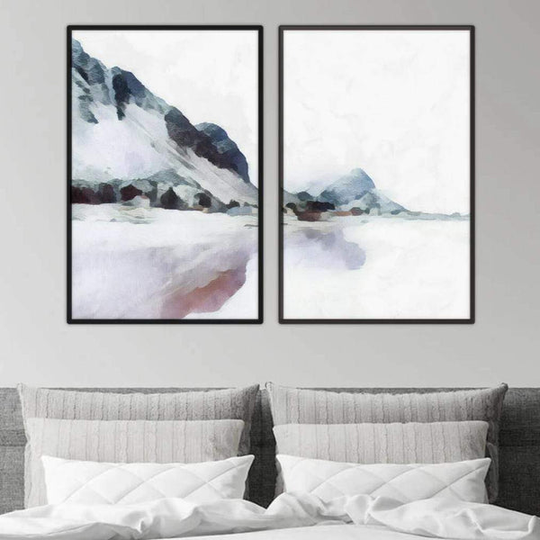 Pastel Mountains Canvas Art Set of 2 / 40 x 50cm / No Board - Canvas Print Only Clock Canvas