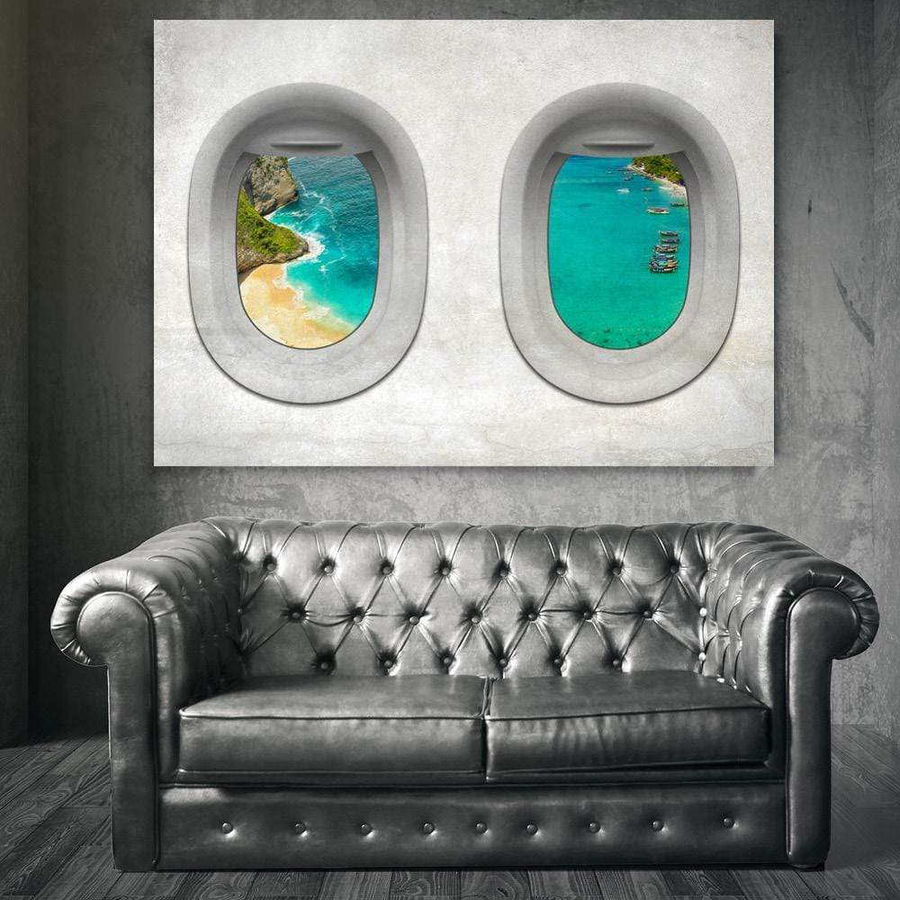 Plane View - Bali Clock Canvas