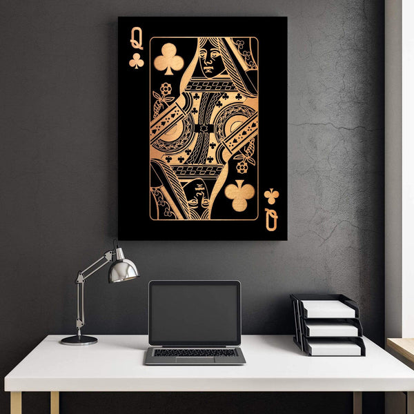 Queen of Clubs - Gold Clock Canvas