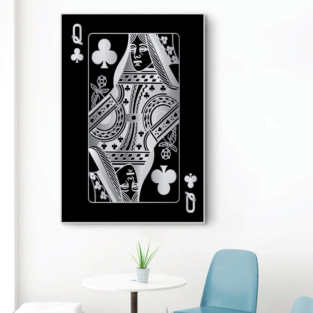 Queen of Clubs - Silver Clock Canvas
