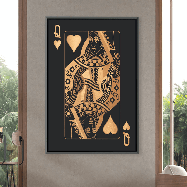 Queen of Hearts - Gold Canvas Clock Canvas