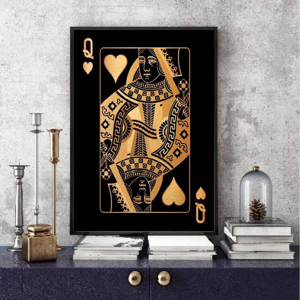 Queen of Hearts - Gold Clock Canvas