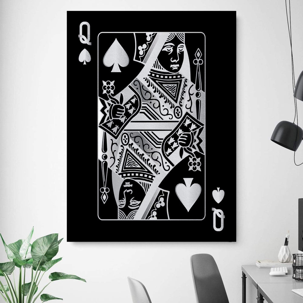 Queen of Spades - Silver Clock Canvas