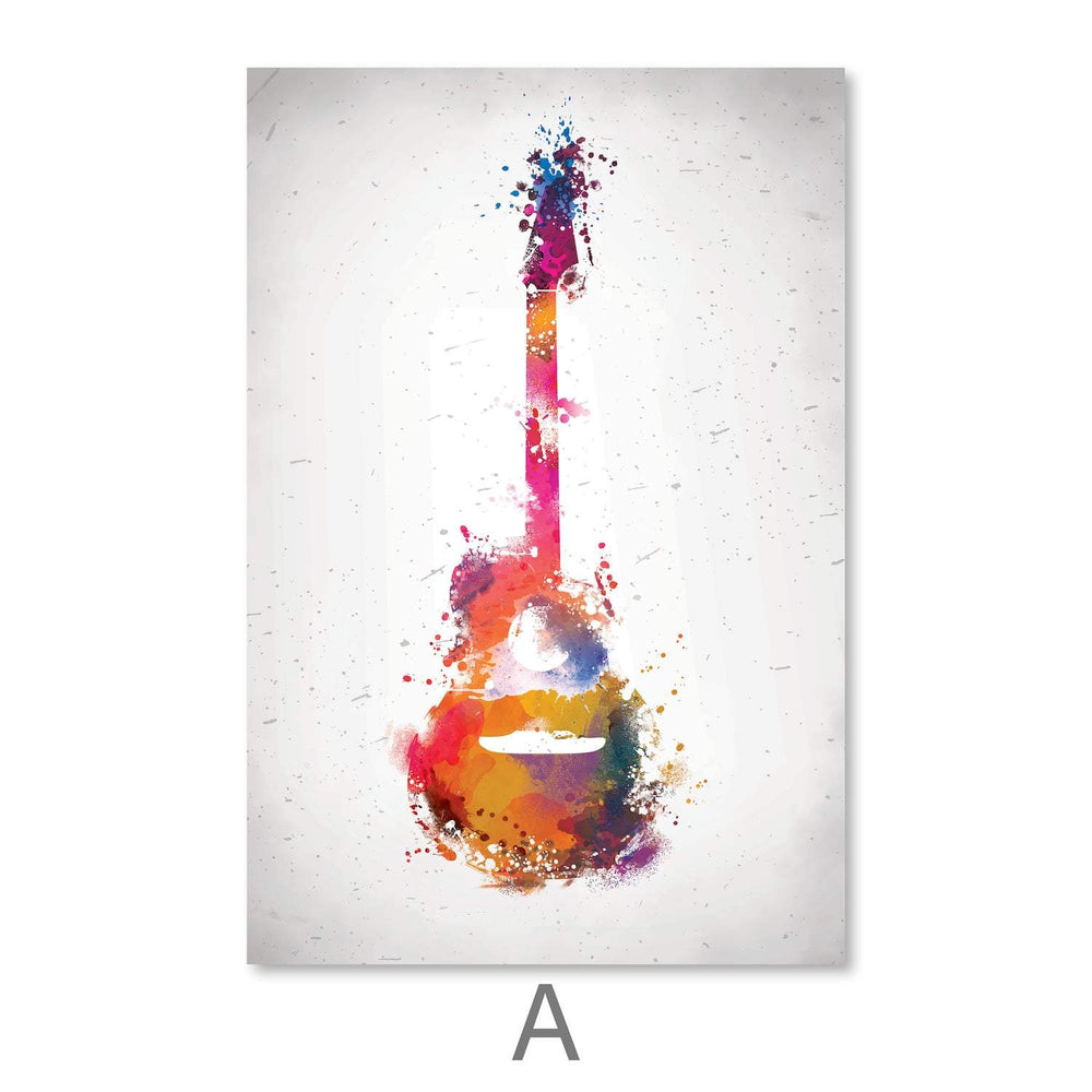 Rock & Roll Color Canvas Art A / 40 x 50cm / Unframed Canvas Print Clock Canvas