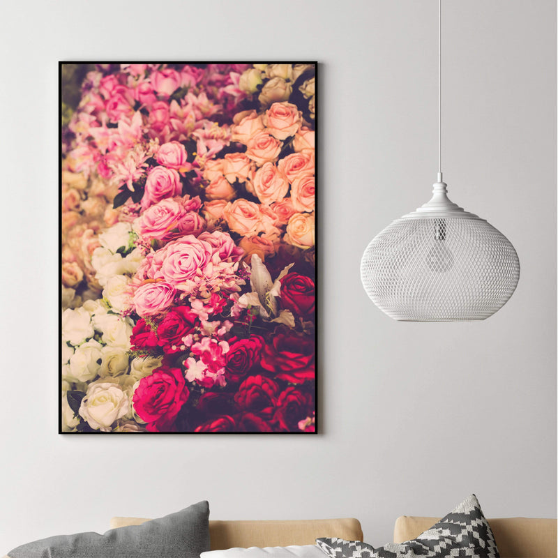 Rose Bouquet Canvas Art Clock Canvas