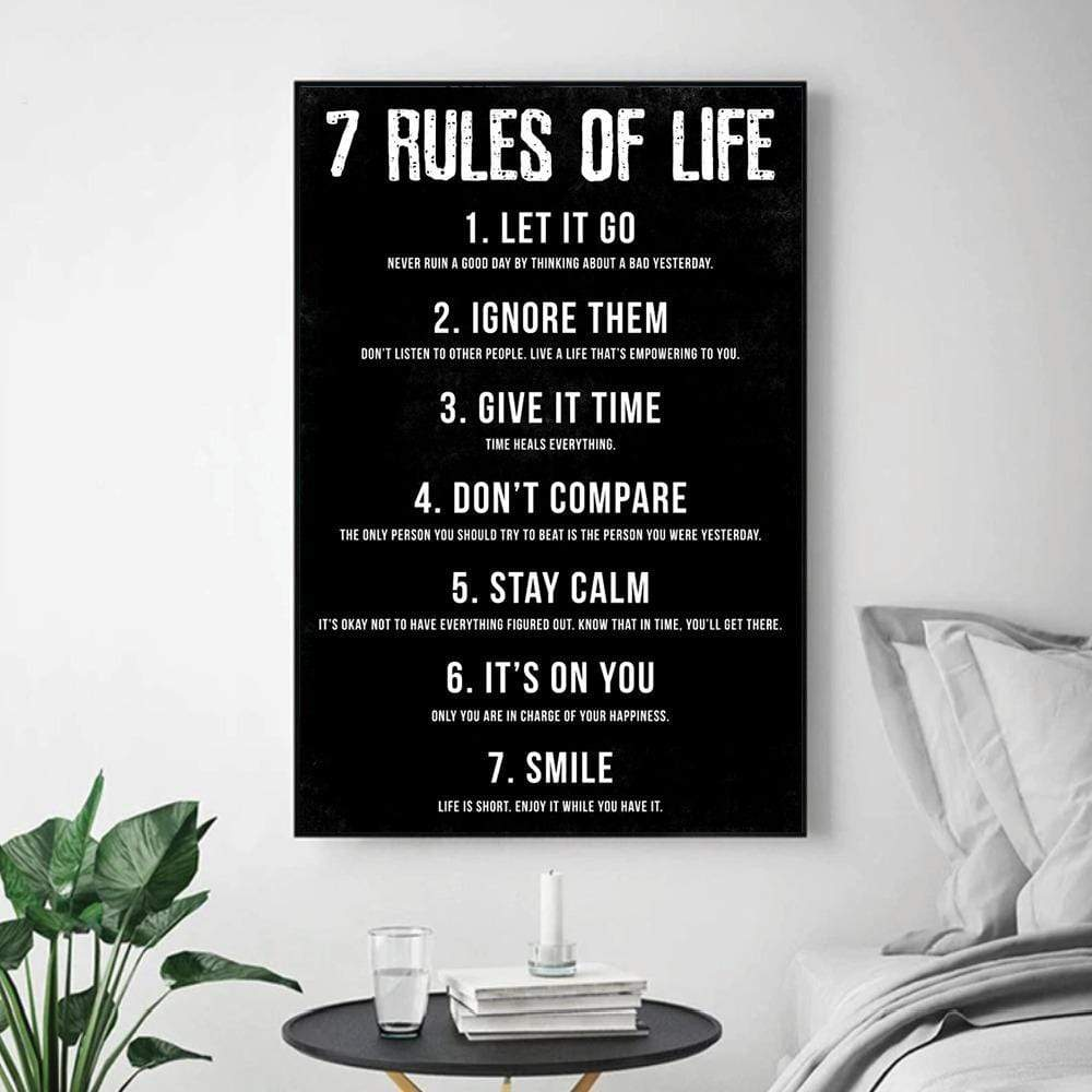 Rules of Life Clock Canvas