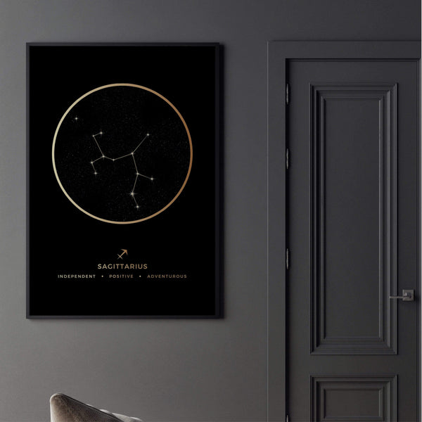 Sagittarius Traits Gold Canvas Art Clock Canvas