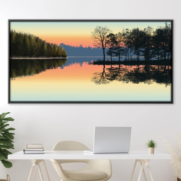 Serene Lake View Canvas Art Clock Canvas